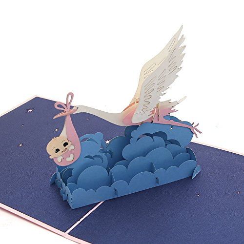 Stork Gift Delivery (Liif Baby & Stork Pop Up Card, 3D Bird Pop Up Card, Pop Up Card for Birthday, Baby Shower, Newborn Announcement, Congratulations)