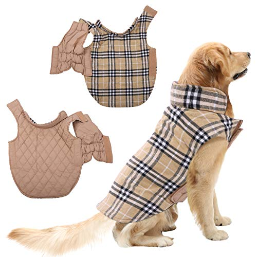 - SAWMONG Dog Coat Warm Jacket Waterproof Windproof Reversible British Style Plaid Vest for Small Medium Large Dogs in Winter Cold Weather Beige S