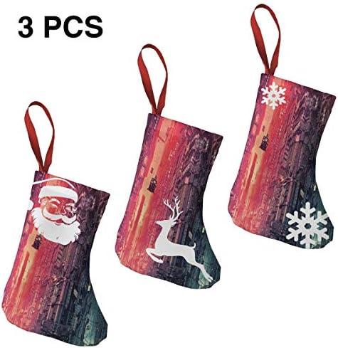 クリスマスの日の靴下 (ソックス3個)クリスマスデコレーションソックス 惑星都市外観 クリスマス、ハロウィン 家庭用、ショッピングモール用、お祝いの雰囲気を加える 人気を高める、販売、プロモーション、年次式