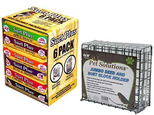 Suet Plus Variety Pack and Pet Solutions Suet Feeder Bundle Pack