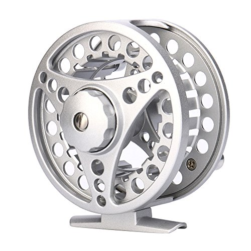 (SMyFone Fly Reel 3/4/5/6/7/8 WT Large Arbor Silver/Black Aluminum Fly Fishing Reel)