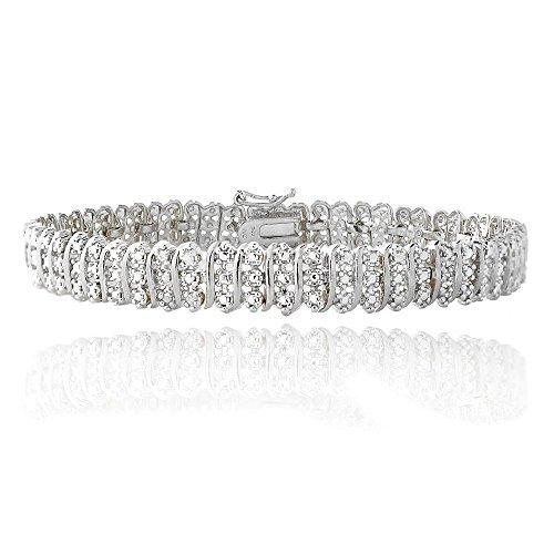 Jawa Fashion Womens 14 K White Gold Finish 2 Carat Diamond S Link Tennis Bracelet 7 8 inch (7.5 Inch)