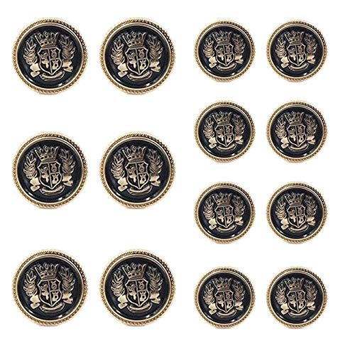 (Chris.W 14 Pieces Antique Metal Blazer Buttons Set for Suits, Sport Coat, Uniform, Jackets, 6 Pieces 20mm and 8 Pieces 15mm, Shank Style(Gold & Black))