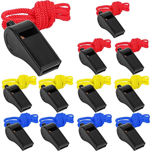 LotFancy 12 Pack Coaching Whistles, Referee Whistles with Colorful Lanyard, ABS Plastic Sport Whistle for Personal Safety, Loud and Crisp Sound, Bulk for Emergency, Survival, Hiking, Walking at Night