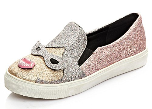 - Aisun Women's Stylish Sequined Cartoon Round Toe Thick Sole Flats Skateboard Platform Loafers Slip On Fashion Sneakers Shoes Pink 7.5 B(M) US