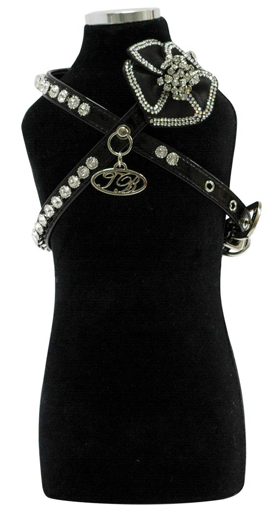 Trilly tutti Brilli Valeriep Harness with Swarovski Chain Fabric Flower And Crystals, Black Patent, Small