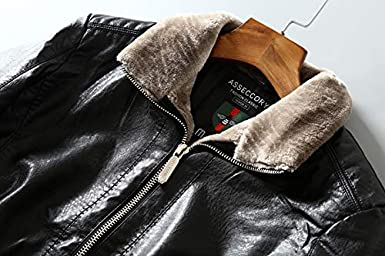 Pershings Fashion Mens Winter Zipper Thick Faux Leather Jacket