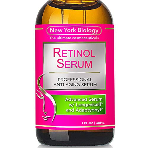 New York Biology Super Retinol Serum with Hyaluronic Acid - Professional Grade Anti Aging Face Serum For Wrinkles and Fine Lines - 1 oz (Best Retinol For Acne And Wrinkles)