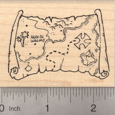 Pirate Treasure Map Rubber Stamp