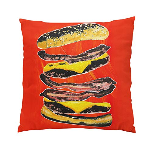 Suklly Bacon Burger Graffiti Plush Hidden Zipper Home Sofa Decorative Throw Pillow Cover Cushion Case 20x20 Inch Square Two Sides Design Printed Pillowcase