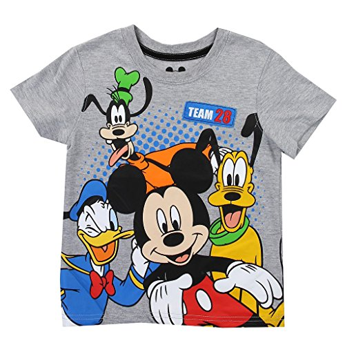 Mickey Mouse Pluto Goofy Donald Toddler Little Boys Team 28 T-Shirt (5T, Grey)