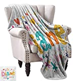 WinfreyDecor Diane Blanket Sheets Festive Arrangement of Letters Baby Girl Name with Geometric Shapes Circles Rhombuses Traveling,Hiking,Camping,Full Queen,TV,Cabin 60' Wx80 L Multicolor