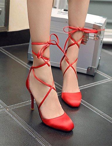 ShangYi Womens Shoes Silk Stiletto Heel Heels / Peep Toe Sandals / Heels Outdoor / Dress / Casual Black / Purple / Red / Beige Beige