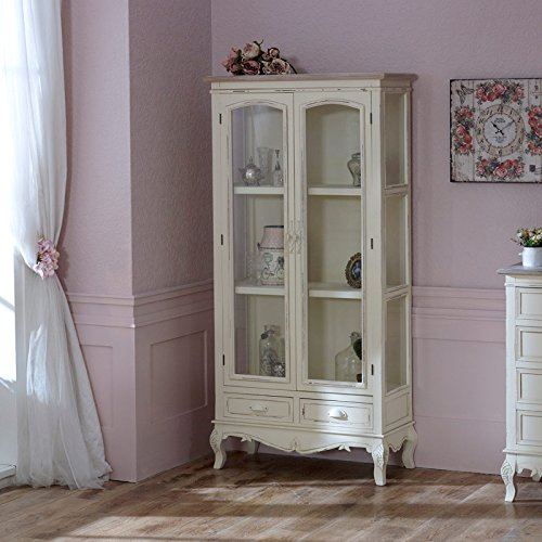 Melody Maison Cream Glass Display Cabinet Drawers   Country Ash Range