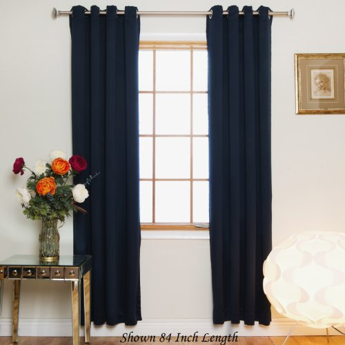 Blackout Curtain Navy Nickel Grommet Top Energy Saving Thermal Insulated 96 Inch Length Pair ()