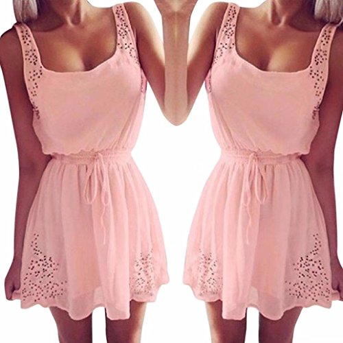 Daoroka Summer Women Casual Dresses Sleeveless Cocktail Short Mini Dress Pink A Line Dress Swing Dress Beach Party Sundress - Major Mini