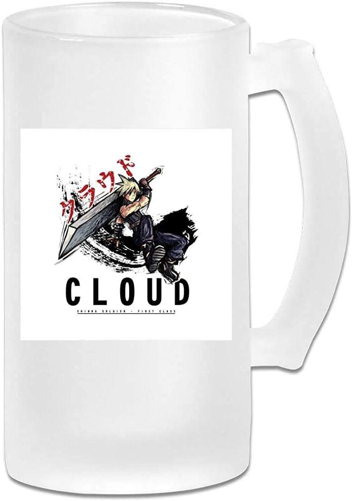 Taza de jarra de cerveza Stein de vidrio esmerilado impresa de 16 oz - Final Fantasy Cloud Sketch - Taza gráfica