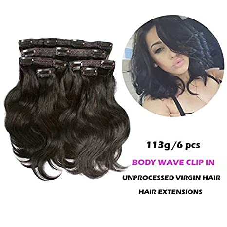 FASHION QUEEN Hair Afro Kinky Curly Clip In Human Hair Extension Virgin Mongolian Human Hair 12 Clip In Hair For Black Women 6 Pcs/Set (113g, #1 Jet Black) Ltd