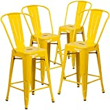 "Cheap Flash Furniture 4 Pk. 24"" High Yellow Metal Indoor-Outdoor Counter Height Stool with Back"
