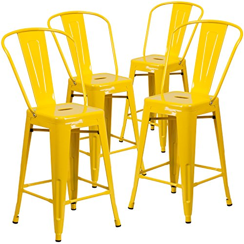 """Cheap Flash Furniture 4 Pk. 24"""" High Yellow Metal Indoor-Outdoor Counter Height Stool with Back"""