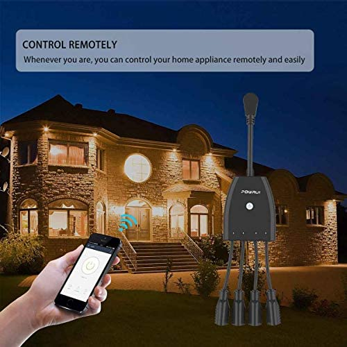 Outdoor Smart Plug, Surge Protector, POWRUI Smart Power Strip With 4-Outlet Extender, Remote Control, Timer, Weatherproof For Indoor And Outdoor Use, Compatible With Alexa, Google Assistant And IFTT
