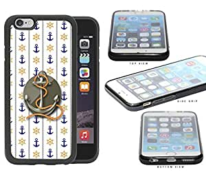 Blue Anchor & Orange Wheel Wallpaper with Grey Centered Anchor & Rope iPhone 6 (4.7) INCH SCREEN Rubber Silicone TPU Cell Phone Case