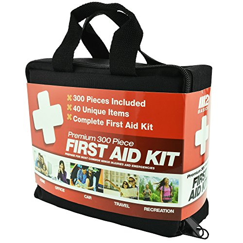 300 Piece (40 Unique Items) First Aid Kit w/ Bag by M2 Basics + FREE First Aid Guide | Emergency Medical Supply | For Home, Office, Outdoors, Car, Camping, Travel, Survival, Workplace (Kit Medical)