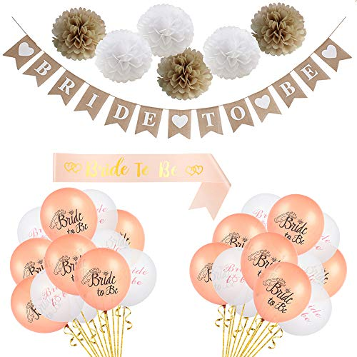 LOLOAJOY Linen Bride to Be Banner Party Decortions Wedding Banner Rustic Bunting Garland Decoration with 8pcs Linen Flowers for Wedding Party Supplies]()