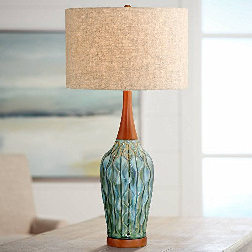 Rocco Mid Century Modern Table Lamp Ceramic Blue Teal Glaze Wood Handmade Linen Drum Shade for Living Room Family Bedroom - 360 Lighting ()