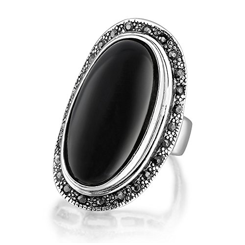 Dnswez Vintage 18k Silver-Tone Plated Black Big Macksite Small Surrounded Zircon Crystal Cocktail Ring for Women (Flash Cocktail)