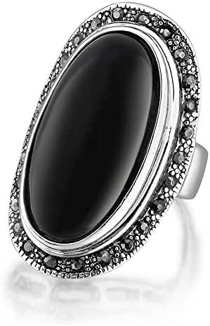 Dnswez Vintage Silver Tone Marcasite Crystal Black Resin Big Cocktail Rings for Women