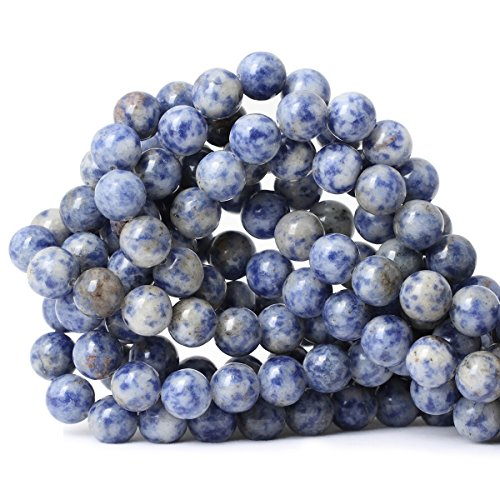 """CHEAVIAN 35PCS 10mm Natural Blue White Sodalite Gemstone Round Loose Beads for Jewelry Making 1 Strand 15"""""""