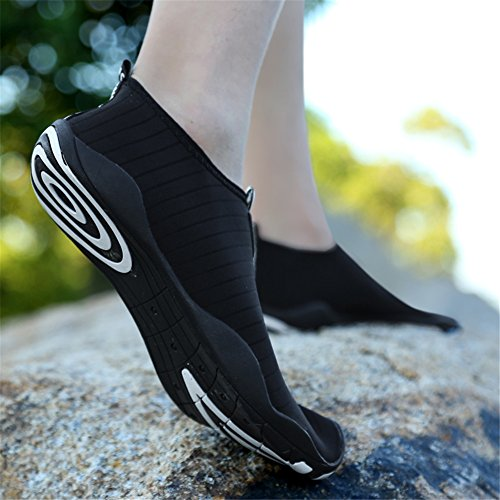 LINGTOM Unisex Quick-Dry Water Shoes Thick Sole Skin Aqua Socks Barefoot For Beach Yoga Exercise Black aUQoCDK48