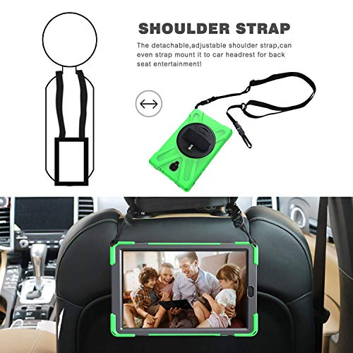 ZenRich Galaxy Tab S4 2018 Case, Tab S4 10.5 Case with S Pen Holder Stand Hand Strap and Shoulder Belt, Shockproof Rugged Case for Samsung Tab S4 10.5 inchT830/T835/T837 Tablet Green
