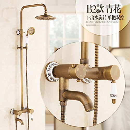 B2 GFEI Antique shower set   full copper bath, hot and cold retro faucet, shower nozzle,B2