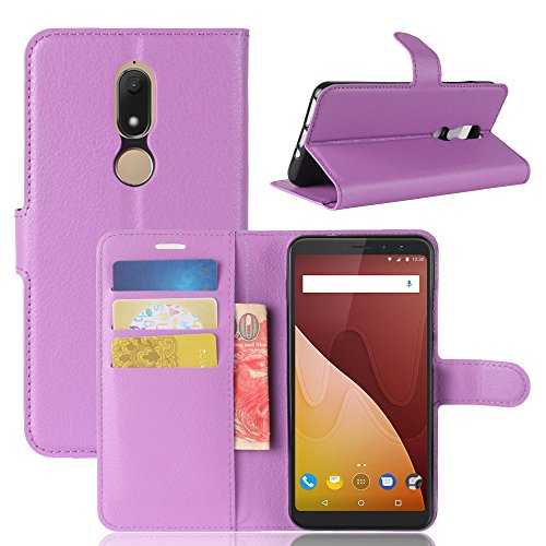 Kingru Case for Wiko View Prime, TPU+PU Leather Litchi Pattern Wallet Stand Case Cover with Card Slot (Purple)