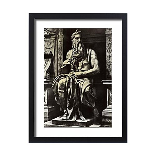 Framed 24x18 Print of Moses by Michaelangelo (14417770) (Collection Wall Bracket Renaissance)