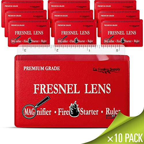 Premium Grade Fresnel Lens Pocket Wallet Credit Card Size • Magnifier • Solar Fire Starter • Ruler - Unbreakable Plastic (10 Pack Premium Grade Ruler/Magnifier) (CZFLCCRLR) ()