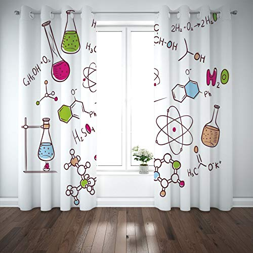 SCOCICI Grommet Polyester Window Curtains Drapes [ Educational,Doodle Style Hand Drawn Chemistry Composition Atom Molecules Flask Decorative,Green Blue Pink] Living Room Bedroom Kitchen Cafe