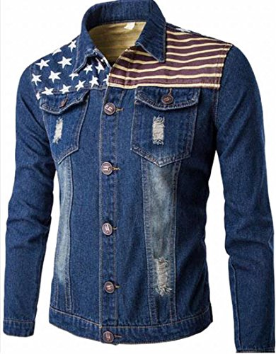 Generic Men's Casual USA Flag Denim Jacket Slim Coat Dark Blue