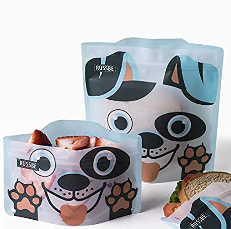 Set of 4 Reusable Snack /& Sandwich Bags RUSSBE Dog