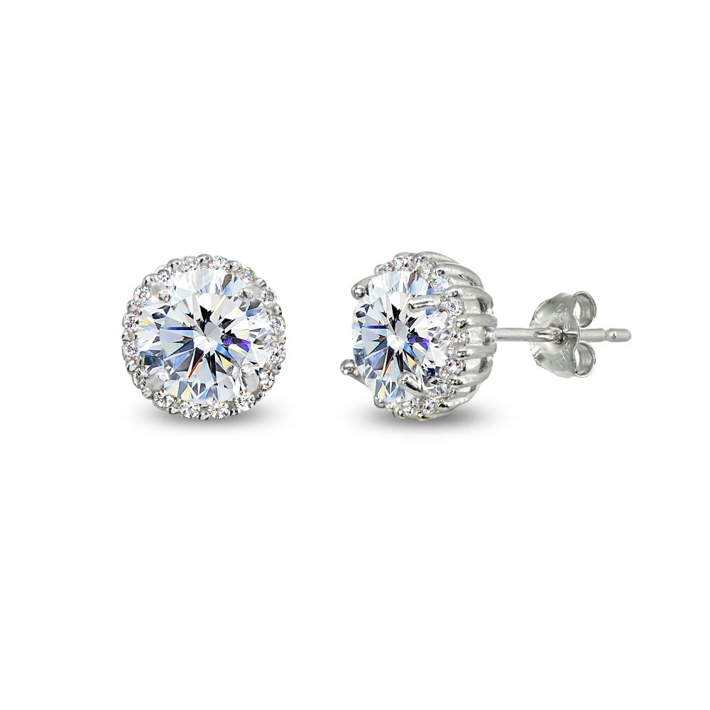 Sterling Silver 6mm Round-cut Halo Stud Earrings Made with Swarovski Zirconia