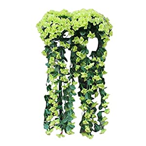 Artificial Flowers,Wedding Flower Wall Decor, Artificial Silk Flower,Home Decorative Flower,Hanging Wisteria Basket Valentine's Day Day Gift,Hanging Garland Vine Flowers Fake Silk Orchid (green) 21