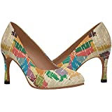 InterestPrint Women's Classic Fashion High Heel Dress Pump Shoes Multicolor Grunge USA Map 5 B(M) US