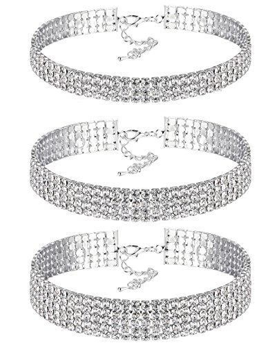 FIBO STEEL 3 Pcs Clear Rhinestone Womens Choker Necklace for Girls Collar Necklace,Adjustable