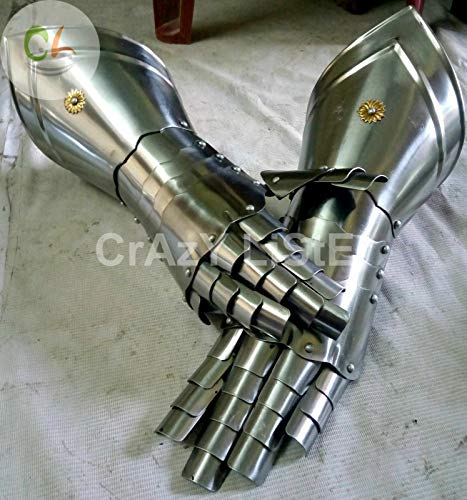 QUALITYMUSICSHOP Medieval Knight Gauntlets Functional Armor Gloves Adult Medieval -