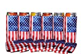 QualityPerfection 6 Slim American Flag in The Wind - Neoprene Can Sleeves,Slim Beer Can Coolers,Energy Can Sleeves Great 4 Holidays,Sport/Business Events,Parties,Independence Day,BBQ,4th Of July