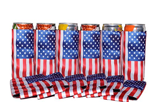 QualityPerfection 6 Slim American US Flag in The Wind - Neoprene Can Sleeves,Slim Beer Can Coolers,Energy Can Sleeves Great 4 Holidays,Sport/Business Events,Parties,Independence Day,BBQ,4th Of July by QualityPerfection (Image #10)