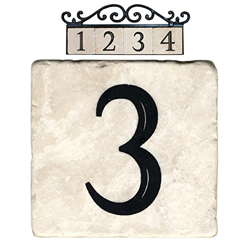 Nach az classic house address number tiles 3 marble for Classic house number plaque