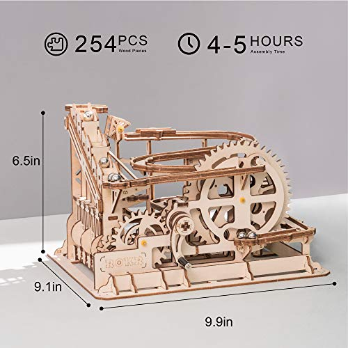 ROKR Marble Run Wooden Model Kits 3D Puzzle Mechanical Puzzles for Teens and Adults(Waterwheel Coaster)